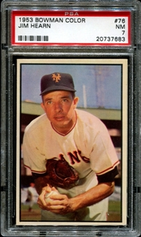 1953 Bowman Color Baseball #76 Jim Hearn PSA 7 (NM) *7683