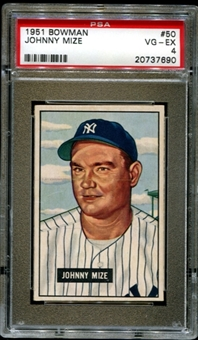 1951 Bowman Baseball #50 Johnny Mize PSA 4 (VG-EX) *7690