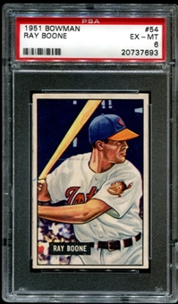1951 Bowman Baseball #54 Ray Boone Rookie PSA 6 (EX-MT) *7693