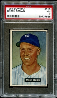 1951 Bowman Baseball #110 Bobby Brown PSA 7 (NM) *7696