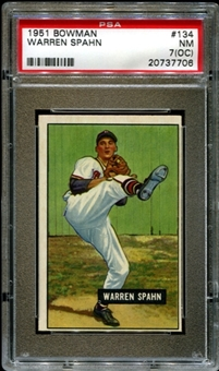 1951 Bowman Baseball #134 Warren Spahn PSA 7 (NM) (OC) *7706