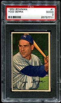 1952 Bowman Baseball #1 Yogi Berra PSA 2 (GOOD) *7711