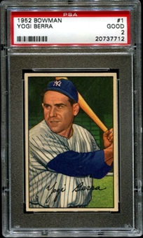1952 Bowman Baseball #1 Yogi Berra PSA 2 (GOOD) *7712