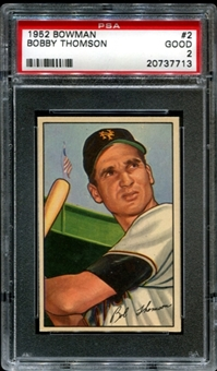1952 Bowman Baseball #2 Bobby Thomson PSA 2 (GOOD) *7713