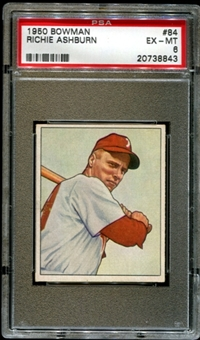 1950 Bowman Baseball #84 Richie Ashburn PSA 6 (EX-MT) *8843