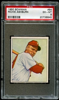 1950 Bowman Baseball #84 Richie Ashburn PSA 6 (EX-MT) *8845