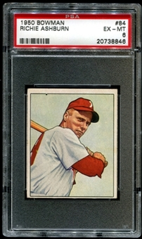1950 Bowman Baseball #84 Richie Ashburn PSA 6 (EX-MT) *8846