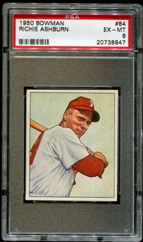 1950 Bowman Baseball #84 Richie Ashburn PSA 6 (EX-MT) *8847
