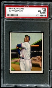 1950 Bowman Baseball #98 Ted Williams PSA 6 (EX-MT) (MC) *8848