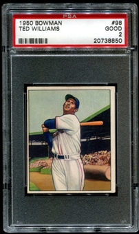 1950 Bowman Baseball #98 Ted Williams PSA 2 (GOOD) *8850