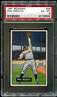 1951 Bowman Baseball #26 Phil Rizzuto PSA 6 (EX-MT) *8869