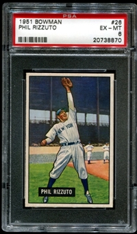 1951 Bowman Baseball #26 Phil Rizzuto PSA 6 (EX-MT) *8870