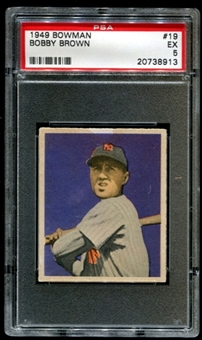 1949 Bowman Baseball #19 Bobby Brown Rookie PSA 5 (EX) *8913