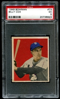 1949 Bowman Baseball #73 Billy Cox Rookie PSA 5 (EX) *8923
