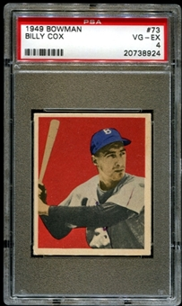 1949 Bowman Baseball #73 Billy Cox Rookie PSA 4 (VG-EX) *8924