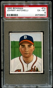 1950 Bowman Baseball #74 Johnny Antonelli Rookie PSA 6 (EX-MT) *8932