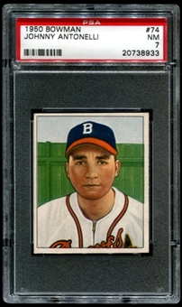1950 Bowman Baseball #74 Johnny Antonelli Rookie PSA 7 (NM) *8933