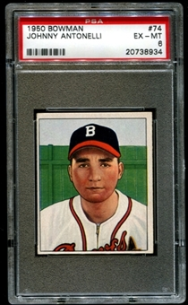 1950 Bowman Baseball #74 Johnny Antonelli Rookie PSA 6 (EX-MT) *8934