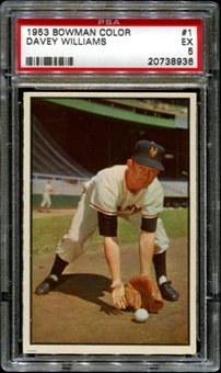 1953 Bowman Color Baseball #1 Davey Williams PSA 5 (EX) *8936