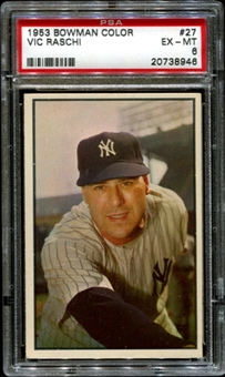 1953 Bowman Color Baseball #27 Vic Raschi PSA 6 (EX-MT) *8946