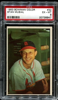 1953 Bowman Color Baseball #32 Stan Musial PSA 6 (EX-MT) *8947