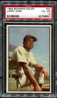 1953 Bowman Color Baseball #40 Larry Doby PSA 4 (VG-EX) *8951