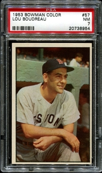 1953 Bowman Color Baseball #57 Lou Boudreau PSA 7 (NM) *8954