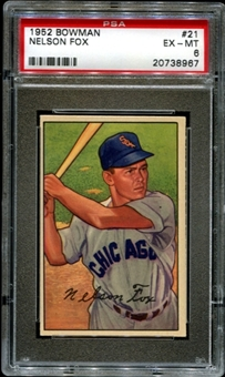 1952 Bowman Baseball #21 Nelson Fox PSA 6 (EX-MT) *8967