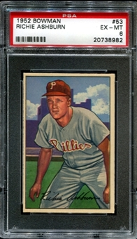 1952 Bowman Baseball #53 Richie Ashburn PSA 6 (EX-MT) *8982