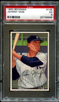1952 Bowman Baseball #145 Johnny Mize PSA 5 (EX) *8988