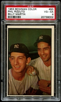 1953 Bowman Color Baseball #93 Phil Rizzuto - Billy Martin PSA 4 (VG-EX) *9002