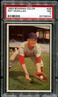 1953 Bowman Color Baseball #26 Roy McMillan PSA 7 (NM) *9024