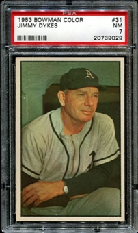 1953 Bowman Color Baseball #31 Jimmy Dykes PSA 7 (NM) *9029