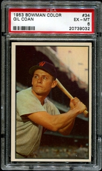 1953 Bowman Color Baseball #34 Gil Coan PSA 6 (EX-MT) *9032