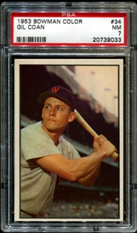 1953 Bowman Color Baseball #34 Gil Coan PSA 7 (NM) *9033