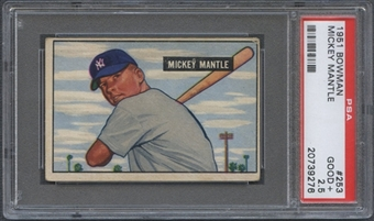 1951 Bowman Baseball #253 Mickey Mantle Rookie PSA 2.5 (GOOD+) *9276