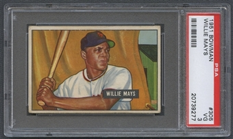 1951 Bowman Baseball #305 Willie Mays Rookie PSA 3 (VG) *9277