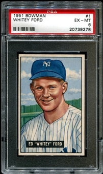 1951 Bowman Baseball #1 Whitey Ford Rookie PSA 6 (EX-MT) *9278