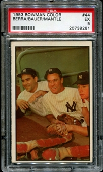 1953 Bowman Color Baseball #44 Berra, Bauer, Mickey Mantle PSA 5 (EX) *9281