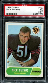 1968 Topps Football #127 Dick Butkus PSA 7 (NM) (ST) *7760