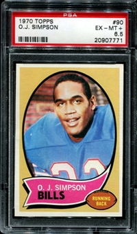 1970 Topps Football #90 O.J. Simpson Rookie PSA 6.5 (EX-MT+) *7771