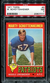 1971 Topps Football #3 Marty Schottenheimer PSA 7 (NM) *7777