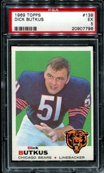 1969 Topps Football #139 Dick Butkus PSA 5 (EX) *7796