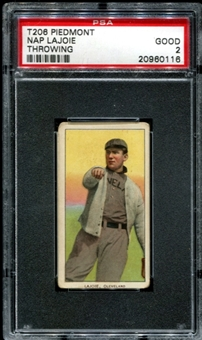 1909-11 T206 Piedmont Nap Lajoie (Throwing) PSA 2 (GOOD) *0116