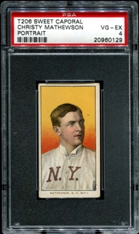 1909-11 T206 Sweet Caporal Christy Mathewson (Portrait) PSA 4 (VG-EX) *0129