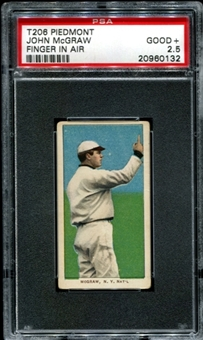 1909-11 T206 Piedmont John McGraw (Finger In Air) PSA 2.5 (GOOD+) *0132