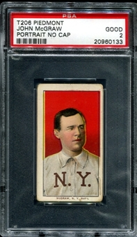 1909-11 T206 Piedmont John McGraw (Portrait - No Cap) PSA 2 (GOOD) *0133
