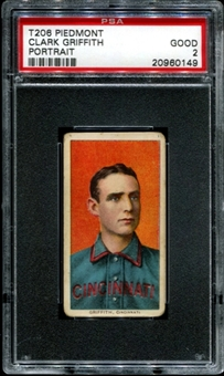 1909-11 T206 Piedmont Clark Griffith (Portrait) PSA 2 (GOOD) *0149
