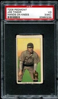 1909-11 T206 Piedmont Joe Tinker (Hands On Knees) PSA 3 (VG) (MC) *0239