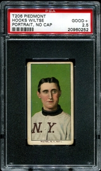 1909-11 T206 Piedmont Hooks Wiltse (Portrait, No Cap) PSA 2.5 (GOOD+) *0252